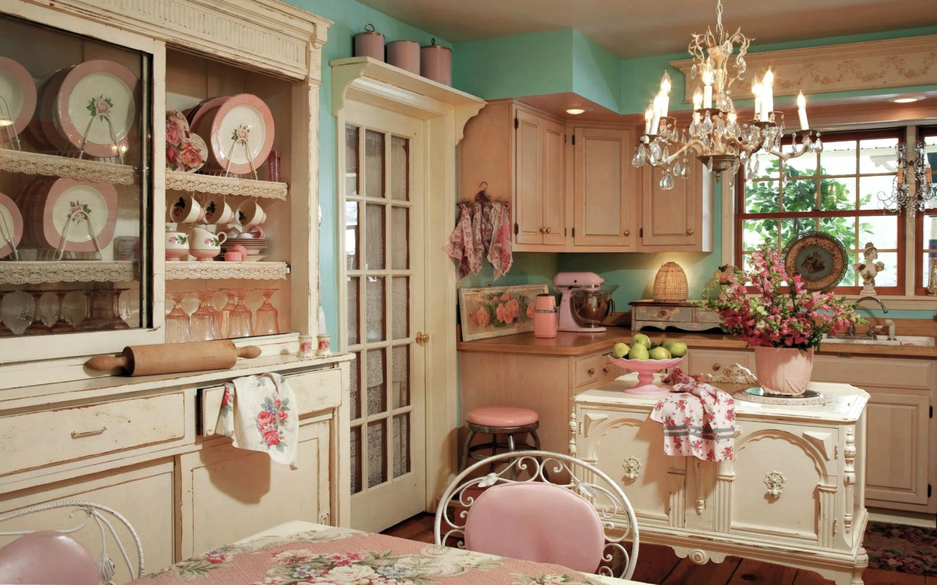 Cocina retro vintage rosa
