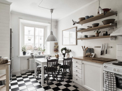 Cocina estilo vintage moderno blanco y negro