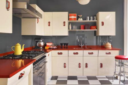 Cocina retro de estilo americano de los años 50