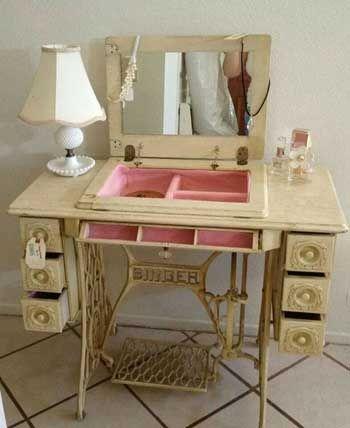 Maquina coser como mueble para pinturas